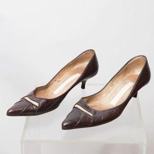 Carmen Ho Kitten Heel Leather Heels Size 6.5